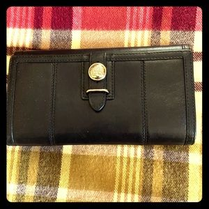 Coach Trifold Black Leather Wallet